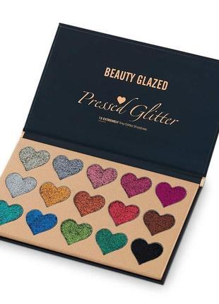 🌈🎨палетка теней глиттеров beauty glazed pressed glitter 15 extremely tiny glitter shadows(15 color)5 фото