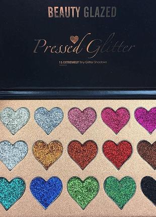 🌈🎨палетка теней глиттеров beauty glazed pressed glitter 15 extremely tiny glitter shadows(15 color)4 фото