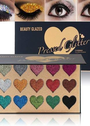 🌈🎨палетка теней глиттеров beauty glazed pressed glitter 15 extremely tiny glitter shadows(15 color)6 фото
