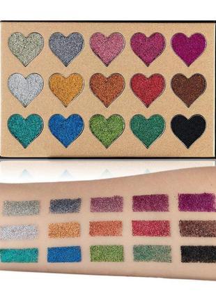 🌈🎨палетка теней глиттеров beauty glazed pressed glitter 15 extremely tiny glitter shadows(15 color)3 фото