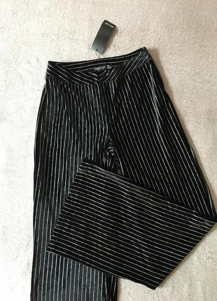 Ликвидация 🔥💣черные бархатные широкие штаны с полосками металлик nasty gal boohoo