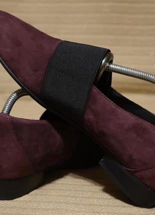 Красивые темно-сливовые замшевые туфли с эластичной резинкой clarks unstructured  42 р.