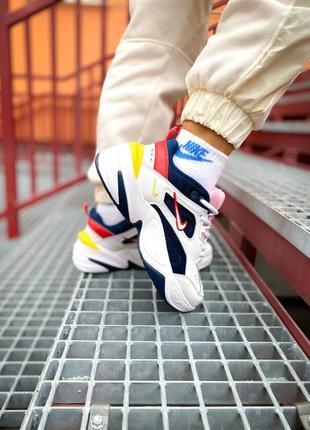Мужские кроссовки nike m2k tekno blue white,кроссовки найк м2к текно синий с белым не высокая платформа