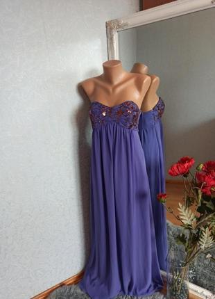 Платье вечернее длинное в пол бузкове фиолетовое пайетка