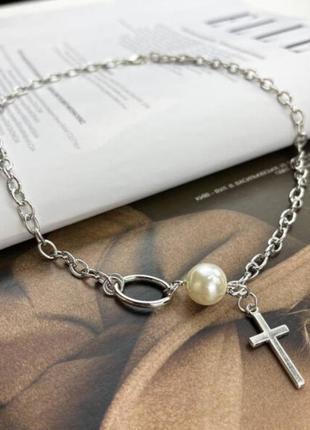 Многослойная цепочка цепь на шею с кольцом колье жемчуг подвеска крестик чокер ланцюжок кулон