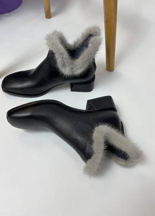 Очень стильные нарядные ботиночки опушка норка, вытяжка союзка