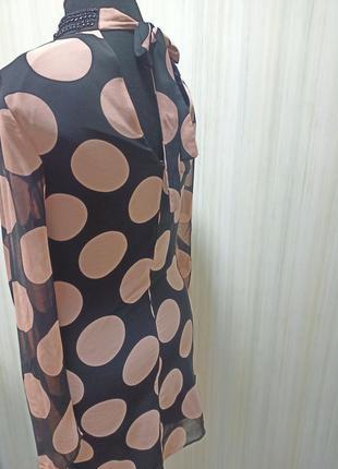 Платье в горох. чёрное платье в бежевый  горошек2 фото