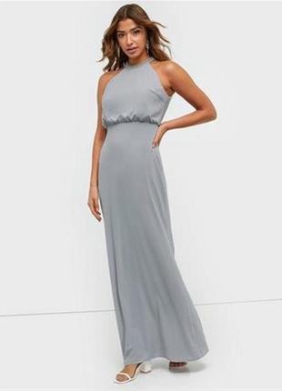 Серое вечернее нарядное макси платье в пол длинное nly trend сток