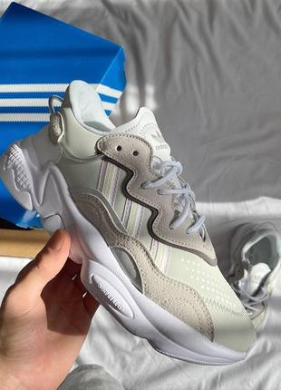❤ женские белые кожаные кроссовки adidas ozweego white grey ❤