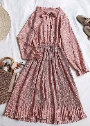 Платье плиссированная юбка цветочный принт