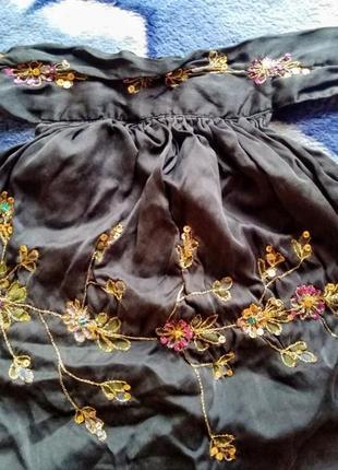 Топ шёлковый с вышивкой с открытой спиной therapy, xxs-s5 фото
