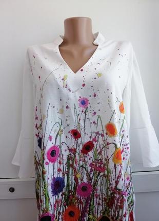 Блуза белая женская цветочный принт