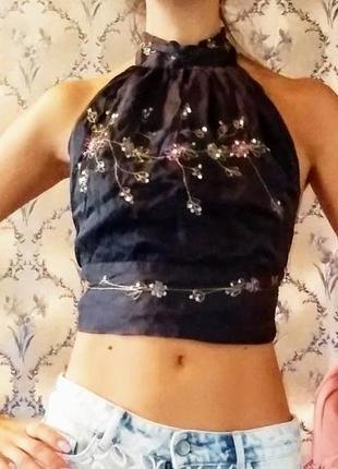 Топ шёлковый с вышивкой с открытой спиной therapy, xxs-s8 фото