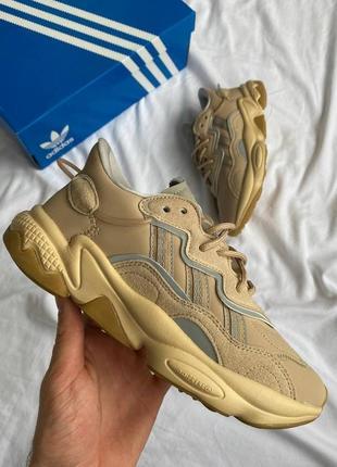 ❤ женские бежевые кожаные кроссовки adidas ozweego beige ❤