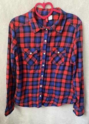 Рубашка в клеточку h&m мягкий материал