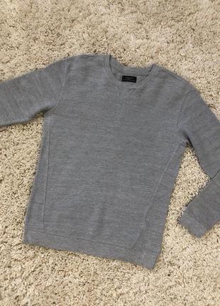 Светло-серый свитер zara man мужская кофта с манжетами