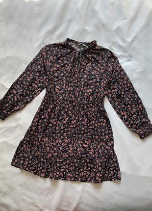 Тотальная ликвидация! цена только до 6.08!  чёрное платье в цветы