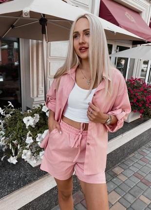 Костюм с шортами женский рубашка льняной легкий свободный летний