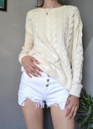 Милый молочный свитерочек косы h&m