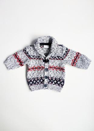 Детский свитер кофта кардиган f&f на малыша 0-3 мес