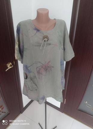 Блуза италия лен большой размер 22-24рр