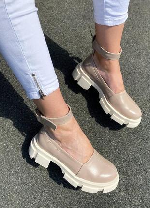 Туфли с ремешком натуральная кожа