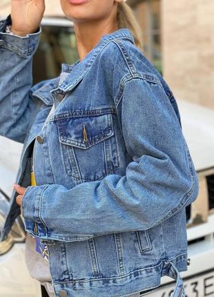 Джинсовая куртка деним рубашка оверсайз женская