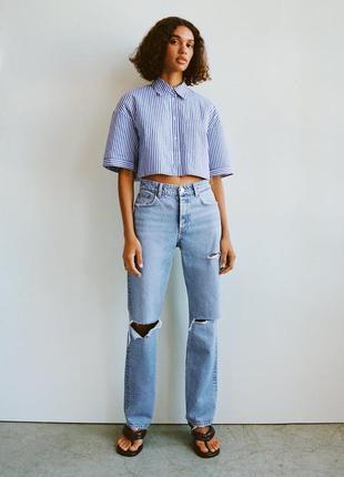 Рубашка блуза сорочка zara стильная в полоску