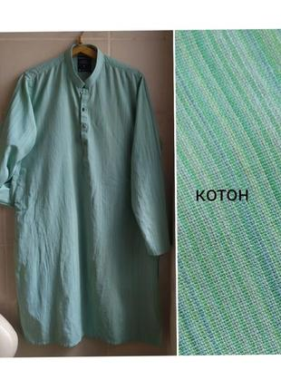 Платье рубашка с разрезами, котон, большого размера
