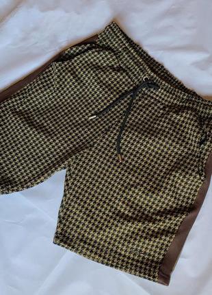 Шорты бермуды, шорты принт гусиная лапка, актуальные шорты на высокой