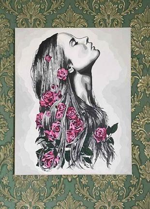 """Картина портрет """"девушка с цветами в волосах"""" 40×50"""