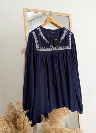 Свободная блуза вышиванка с вышивкой m&s4 фото