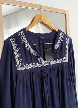 Свободная блуза вышиванка с вышивкой m&s5 фото