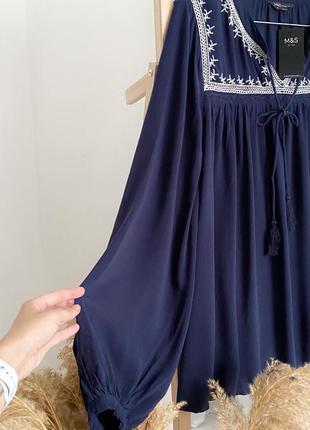 Свободная блуза вышиванка с вышивкой m&s6 фото