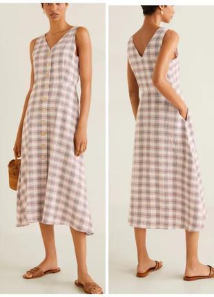 Платье миди, платье халат, платье на пуговицах натуральное, платье летнее сарафан, лен хлопок вискоза, сукня