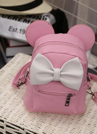 Маленький женский рюкзак с ушами микки розовый