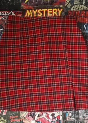 Юбка в клетку складку японская школьница харадзюку обтягивающая с вырезом шотландка