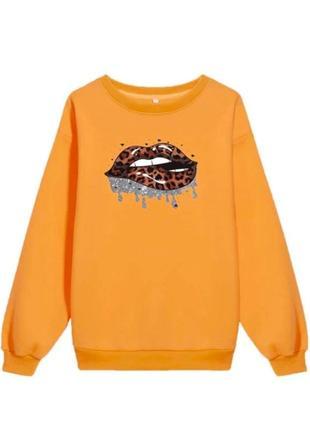 Shein. англия. оранжевый свитшот оверсайз с леопардовым принтом губ.