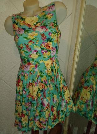 Короткое платье бирюзовое цветы вискоза
