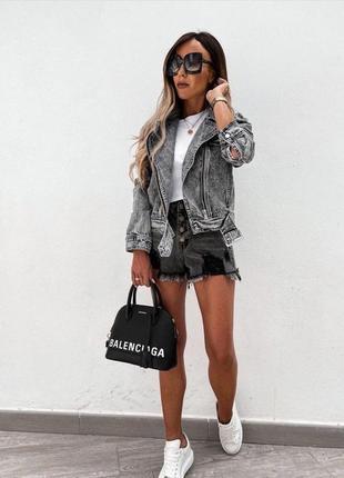Джинсовая куртка косуха, фабричный китай серая