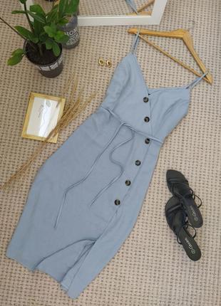 Стильное пепельно голубое платье на бретелях primark