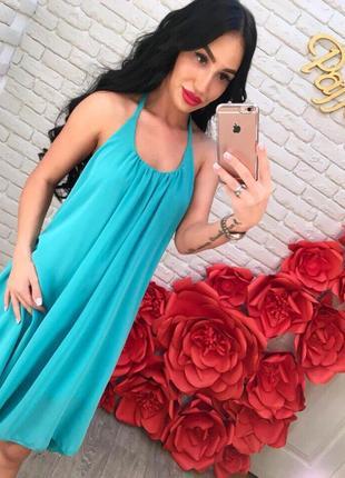 Шифоновое мятное платье