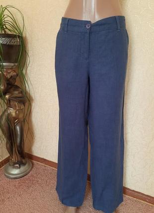 Льняные штаны прямые брюки в базовом синем цвете с карманами