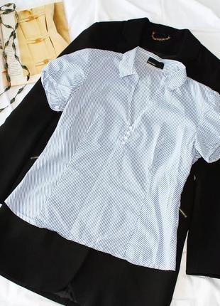 Рубашка из хлопка в полоску с короткими рукавами vero moda