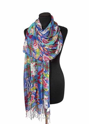 Летний весенний льняной тонкий шарф палантин лен на жару голубой/ синий цветы новый качественный