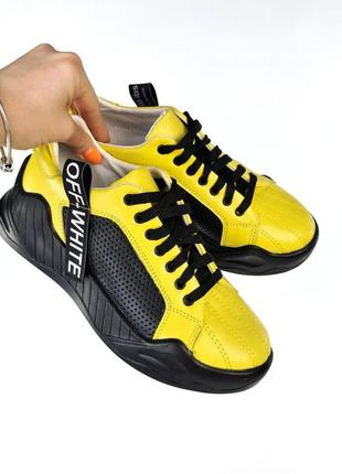 Рр 36-40. кроссовки жёлтые натуральная кожа