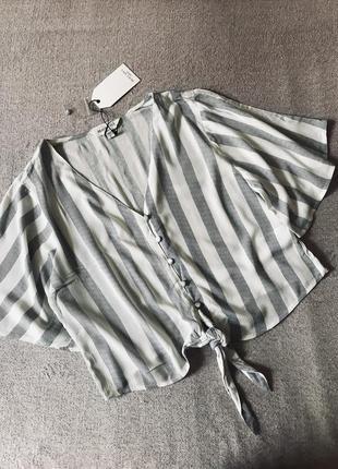 Ликвидация🔥шикарная полосатая легкая блуза с завязкой brave soul (англия), 100% вискоза