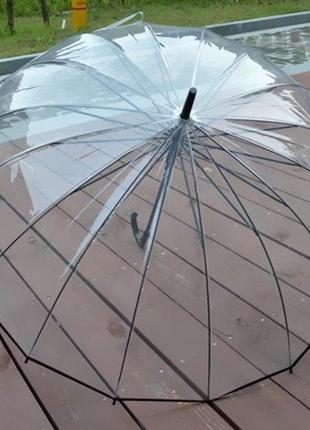 Парасоля жіноча прозора зміцнена / зонт прозрачный топ