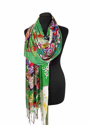 Летний весенний льняной тонкий шарф палантин лен на жару голубой/ розовый новый качественный