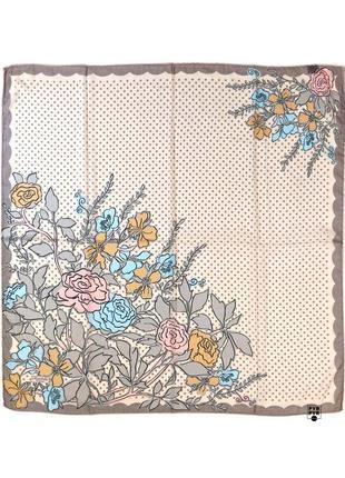 Хлопковый платок хустка бавовна хлопок в горох бежевый серый цветы ручной роуль новый
